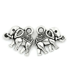50PCs Charms Pendants Elephant Animal Crafts Jewellery Making Silver Tone 14x12m