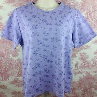 Jason Maxwell Women's Knit Top Size XL Purple Floral Short Sleeve Pullover
