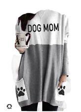 Women's DOG MOM Dog Paw Print Casual Shirt Size 2XL / grey-white