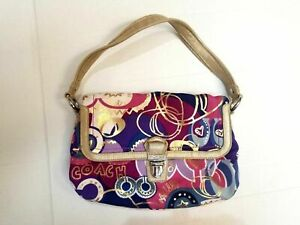 Pre-owned Coach 18363 Poppy Limited Edition Layla Graffiti Shoulder Bag