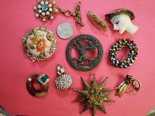 MIXED LOT OF 10 VINTAGE BROOCHES BOUCHER GERMANY WEST L.S.Co. 12K GF RHINESTONE