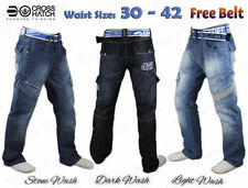 Mens Boys Crosshatch Cargo Combat Corona Regular Fit Denim Jeans +Free Belt