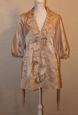 RYU: Chic Beige 3/4 Sleeve Belted Trench Coat w/ Ruffle Details - SIZE MEDIUM