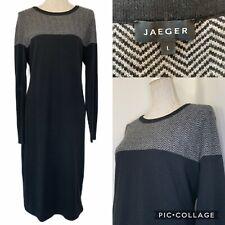 JAEGER Black Grey Zig Zag Cashmere Blend Jumper Dress Size L