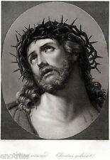 Cristo coronato di spine,di Guido Reni.2.Acciaio.Steel Engraving.STAHLSTICH.1850
