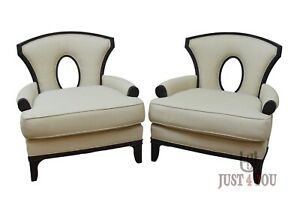 Pair Barbara Barry for Henredon Grace Arm Chairs