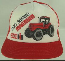 Case 7100 Series Magnum Tractor Snapback Trucker Hat Mesh Red White Norscot Vtg