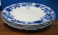 JOHNSON BROTHERS china ANDORRA flow blue Set of 4 dinner plates each with chip