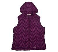 Eddie Bauer 700 Down Filled Hooded Vest Women's 2XL XXL Purple Quilted Puffer
