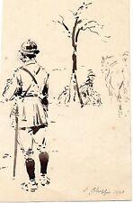 ESQUISSE ENCRE SCENE MILITAIRE 1914-1918 SIGNE Emile CHEPFER 1920