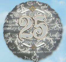 Happy 25th Wedding Anniversary Balloon 18 Inch Silver Gold Classic Anagram