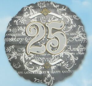 Happy 25th Wedding Anniversary Balloon 18 Inch Silver Gold Classic Anagram New