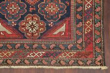 Pre-1900 Antique VEGETABLE DYE Kazak Caucasian Tribal Area Rug Hand-Knotted 4x6