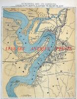 Old 1863 Topographical Engraving Map ~ VICKSBURG MISSSISSIPPI Civil War Defences