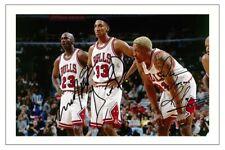 MICHAEL JORDAN, RODMAN & PIPPEN CHICAGO BULLS SIGNED PHOTO PRINT NBA BASKETBALL