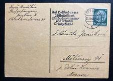 1940 Breslau Germany Gestapo Prison Postcard Cover to Melcany Bohemia Moravia