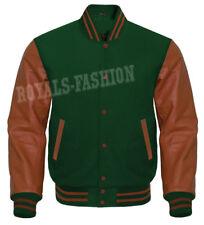 Varsity Letterman Baseball D.Green wool and Genuine Brown Leather Sleeves Jacket