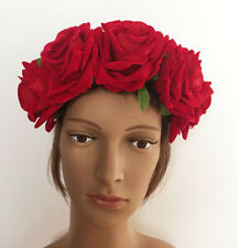 Large Red Rose Flower Floral Wedding Bridal Elastic Hairband Headband Hair Crown