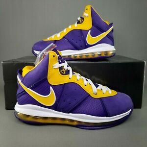 Nike LeBron VIII 8 QS Lakers Basketball Shoes Mens SZ 8.5 Athletic Purple Yellow