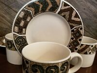 Set Of 4 Majesticware By Sakura Mugs w/Saucers Sue Zipkin Crete Pattern 1996 XCL
