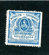 Vintage Poster Stamp Label KOHLER ANTIDOTE Headache Neuralgia Cure