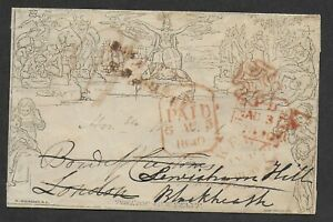 An unusual 1840 1d Mulready envelope being re-addressed from Bakewell to London.
