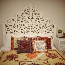 Antique White Timber  Handcarved  Indian Bed Head Wall Art