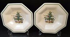 "TWO Nikko Christmastime Soup Bowls 8 1/4"" Octagonal Christmas Tree 2 Bowls NICE!"