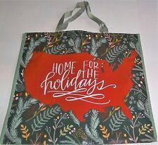 """CHRISTMAS Reusable Tote Bag  19.5"""" x 18"""" x 7"""" HOME FOR THE HOLIDAYS"""