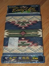 VILLAGE EASY UPS BORDER AZTEC DESIGN BLUE GREEN TAN SELF ADHESIVE 15 FT