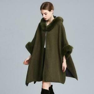 Womens Warm fur Trim Cashmere Wool Poncho Coats Jackets Capes Shawl Hooded Ladys