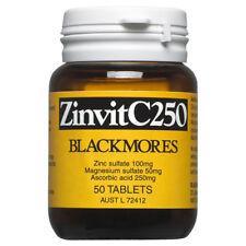 BLACKMORES ZINVITC250 50 TABLETS ZINVIT ZIN VIT VITAMIN C 250 MG ZINC MAGNESIUM