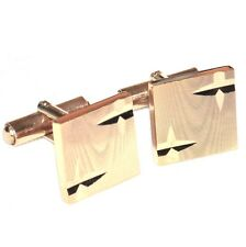Boutons de manchette vintages plaqué or 18 carats motif diamanté bijou A2
