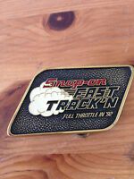 Snap On tools Fast Track'N Full Throttle In 92 Brass Belt Buckle