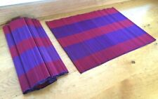 Vietnamese Bamboo Woven Placemat Rectangle - 2 Tone Blue / Red - Set Of 6