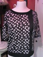 Next Ladies Black & White Floral Patterened Top Size 10