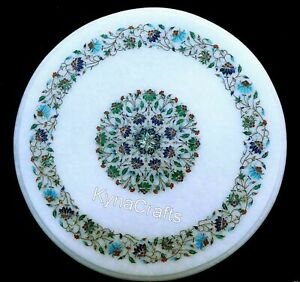 """21"""" Marble Coffee Table Top Multi Color Stone Inlaid Work Patio Table for Garden"""