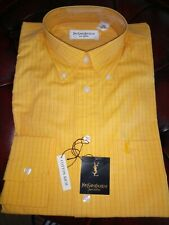 Yves Saint Laurent YSL Mens Yellow & Red Checked Shirt Size Small S 14.5