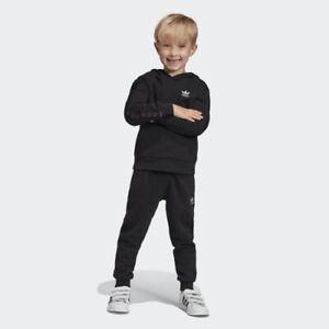 adidas Originals junior black tape Trefoil hooded set. Various sizes!