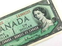 1954 Canada One 1 Dollar Circulated Canadian Beattie Rasminsky Banknote FO Q816