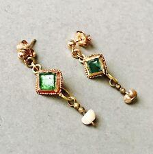 Marciò romana oro Orecchini con PERLA VETRO VERDE &, eleganti gioielli