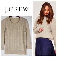 J. Crew Small Sweater Pullover Cable Knit Fisherman Aran Tan Oatmeal Wool    *