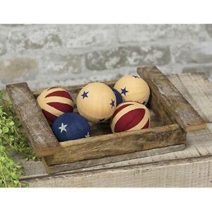 6 Americana Homespun Rag Balls Ragball Bowl Filler Farmhouse Patriotic Ornaments