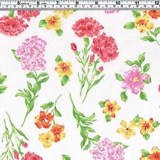 CARNATION Pansy Flowers Fabric ~ FQ