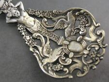 Elaborate Sterling GORHAM Bon Bon Serving Spoon Figural Cherub Birds Florals