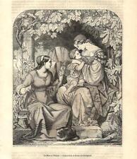 Stampa antica MAMMA CON BAMBINO INSERVIENTE e GATTO 1853 Old antique print