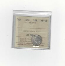 **1934**, ICCS Graded Canadian,  10 Cent, **AU-58**