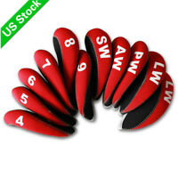 11pcs A Set Golf Iron Head Covers Neoprene HeadCovers 4-LW Red&Black for Cobra