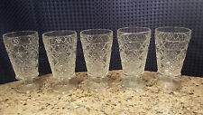 Vintage Pressed Glass  Wine Goblets Stemmed Clear Anchor Hocking Wexford Set 5