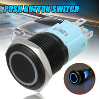 16mm Black Momentary Push Button Switch SPST Blue Ring LED Waterproof AU //